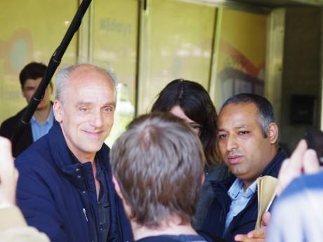 Philippe Poutou lors d'une rencontre avec les salariés de Médialys à Lyon - LyonMag