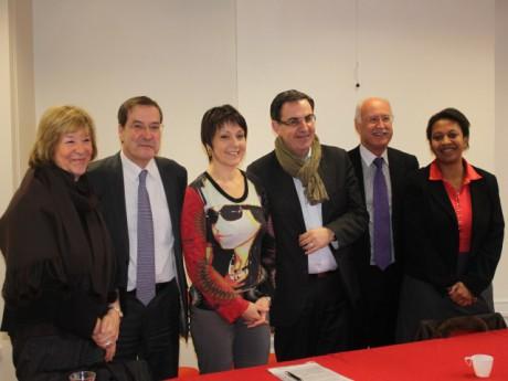 De g à d : Pascale Crozon, Pierre-Alain Muet, Sylvie Guillaume, David Kimelfeld, Jean-Louis Touraine et Hélène Geoffroy - LyonMag.com
