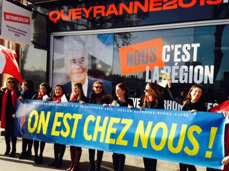 Les filles du FN devant la permanence de Queyranne - LyonMag