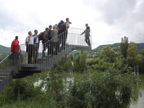 Gérard Collomb lors de la visite de présentation des rives de Saône - LyonMag.com