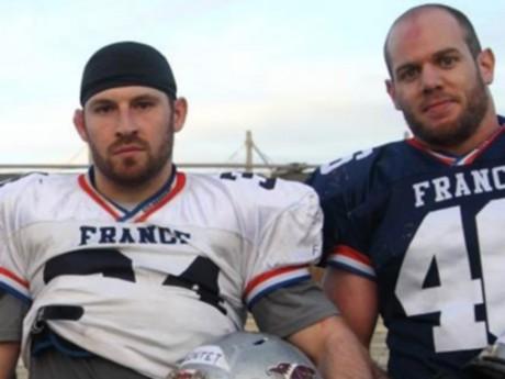 Brice Rontet et Matthieu Fayard sous le maillot de l'équipe de France de Football Américain - DR