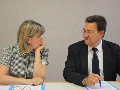 Véronique Sarselli et Philippe Cochet ce vendredi matin - LyonMag