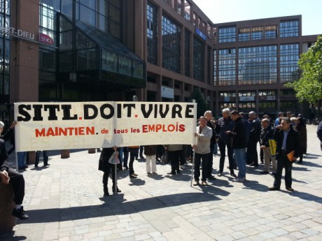 Les salariés, lors d'une manifestation devant la gare de la Part-Dieu à Lyon - LyonMag