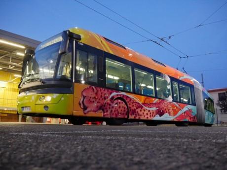 Le trolleybus tagué de la ligne C3 - DR