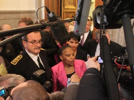 Christiane Taubira entourée du préfet Carenco et de Najat-Vallaud-Belkacem - LyonMag.com