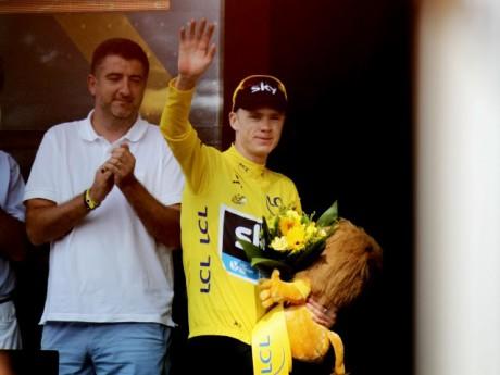 Chris Froome, maillot jaune l'an dernier à l'arrivée à Lyon - LyonMag