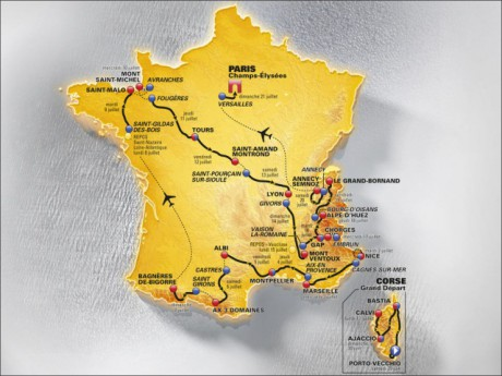La carte officielle du parcours du Tour de France 2013 - DR