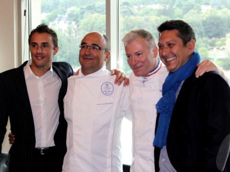 Christian Têtedoie avec ses désormais ex-associés Frédéric Sartou, Franck Sucillon et Stéphane Fioc lors du lancement des Salins - LyonMag