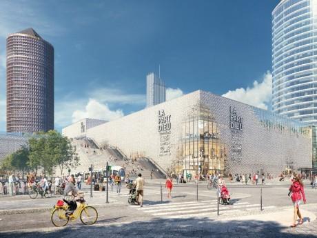 Perspective du futur escalier d'accès au toit terrasse du centre commercial (2020) - DR