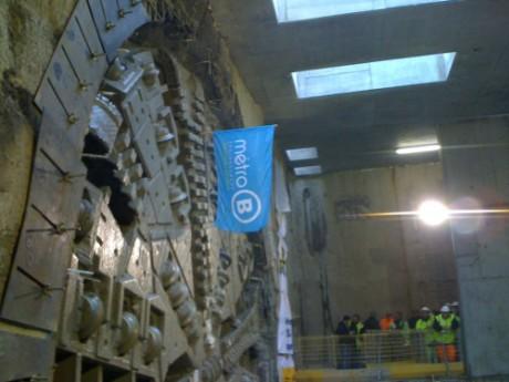 Le tunnelier, baptisé Agathe, lors de son arrivée à la station Oullins-Gare - Photo LyonMag