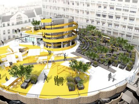Esquisse du toit du parking des Halles - DR WW Architecture – Artiste Mengzhi Zheng
