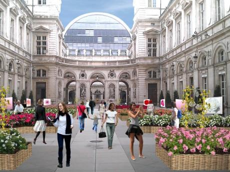 Visuel d'intention de la cour de l'Hôtel de Ville de Lyon - DR