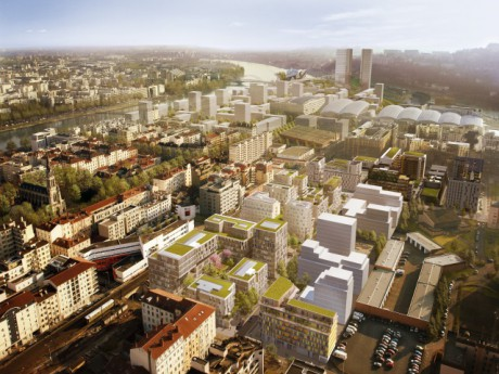 Le quartier de la Confluence une fois terminé, au premier plan Denuzière - DR Constructa Louis Paillard