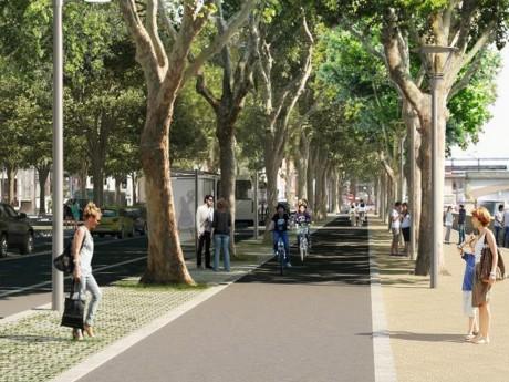 Une projection du boulevard urbain, le long de la Confluence et du Rhône - DR