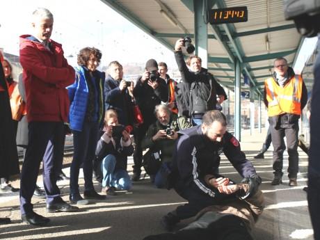 Laurent Wauquiez lors d'un exercice avec la Sûreté Ferroviaire - LyonMag
