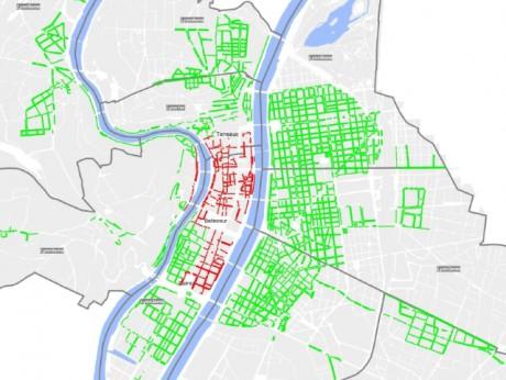 La carte des places gratuites au mois d'août à Lyon : en rouge, le stationnement reste payant; en vert, c'est gratuit - Photo Ville de Lyon/DR