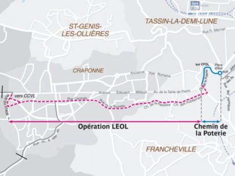 Le tracé de LEOL dans l'Ouest Lyonnais - Photo SYTRAL