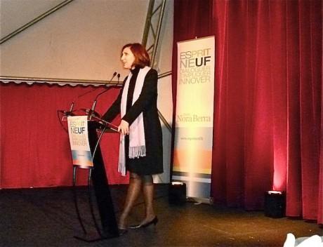 Nora Berra au lutrin lundi soir pour le lancement de son club politique baptisé Esprit Neuf - LyonMag