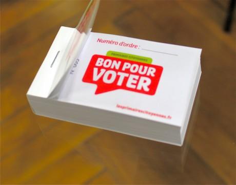 La contremarque délivrée aux votants des Primaires socialistes. Dans le Rhône pour le 1er tour, ils étaient près de 70 000 - LyonMag