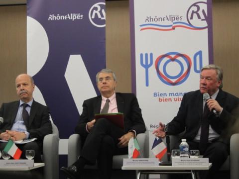 Giulio Marongiu, Jean-Jacques Queyranne et Michel Gregoire à la présentation de l'évènement ce lundi - LyonMag