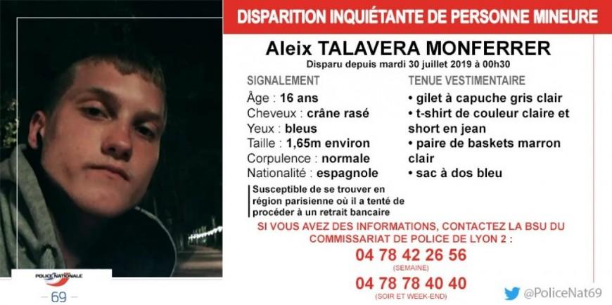 Appel à témoins après la fuite d'un adolescent espagnol à Lyon