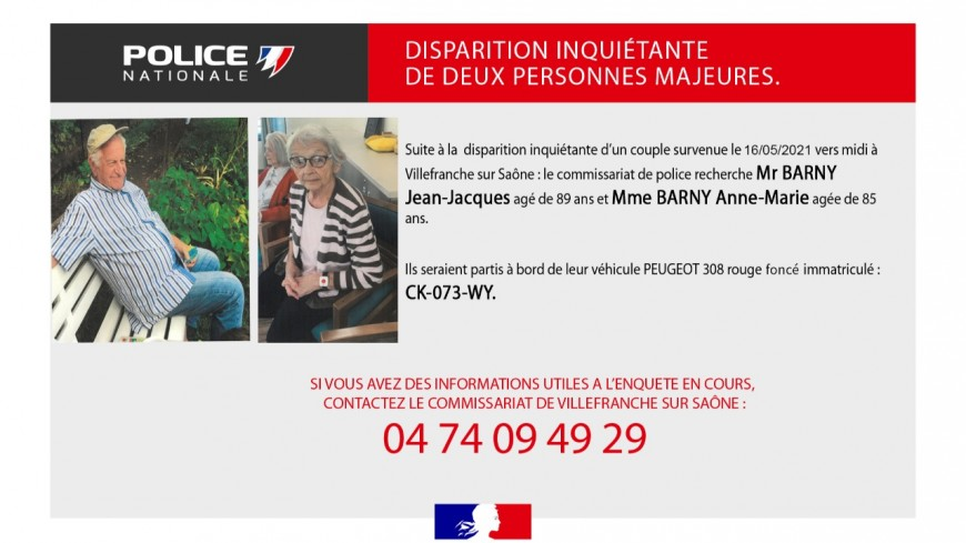 Près de Lyon : un appel à témoins lancé après la disparition d'un couple d'octogénaires à Villefranche-sur-Saône