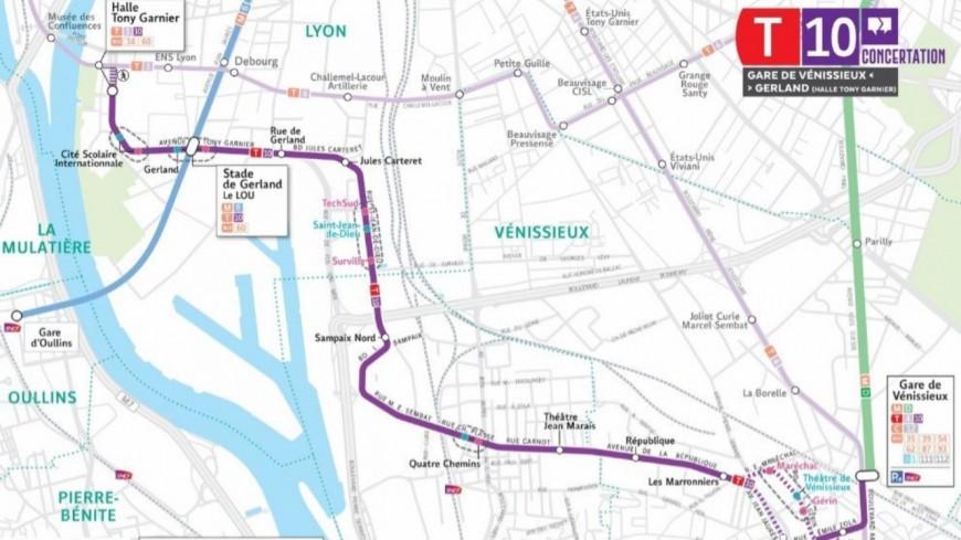 De Lyon à Vénissieux en passant par Saint-Fons : le tracé du tramway T10 dévoilé, la concertation débutera à la rentrée