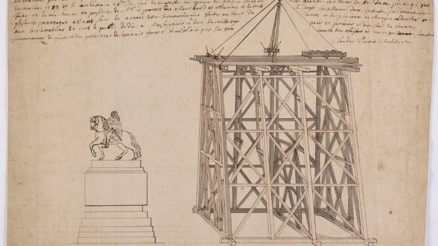 Lyon : Gadagne s'offre le dessin de l'échafaudage qui a permis la pose de la statue de Louis XIV place Bellecour