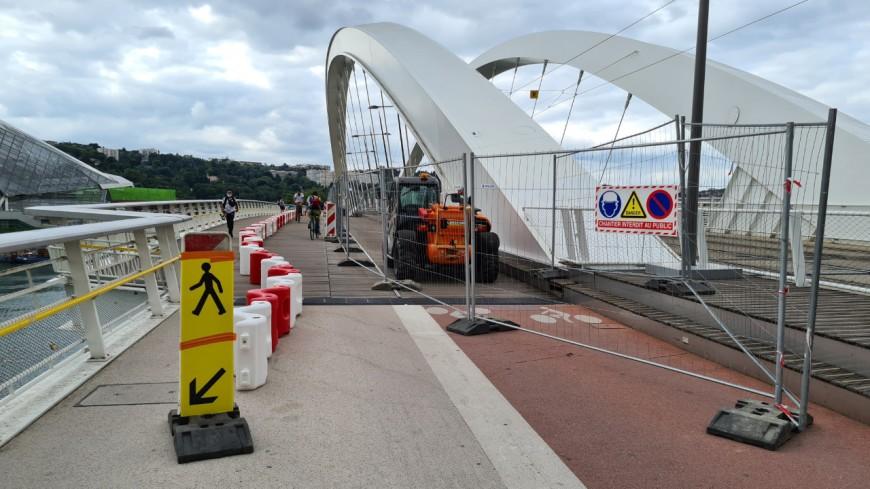 Lyon : le pont Raymond Barre en travaux, la piste cyclable en cours de modification