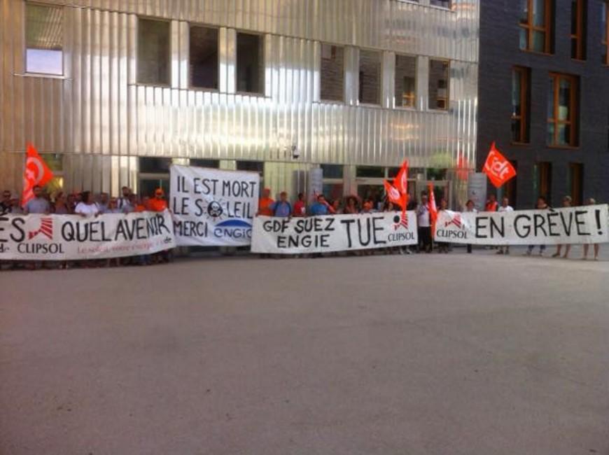 Manifestation à Lyon des salariés d'une entreprise de panneaux solaires