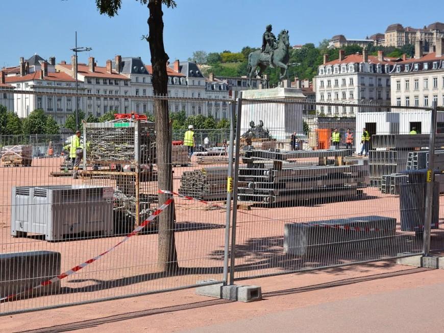 Lyon : la Fan Zone commence à prendre forme place Bellecour
