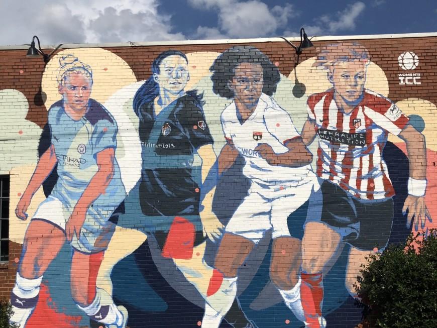 Wendie Renard sur une fresque de street-art aux Etats-Unis