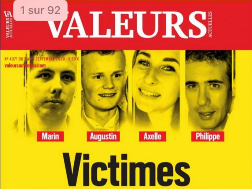 """Les Lyonnais Marin, Augustin et Axelle, """"victimes de la barbarie ordinaire"""", en Une de Valeurs Actuelles"""