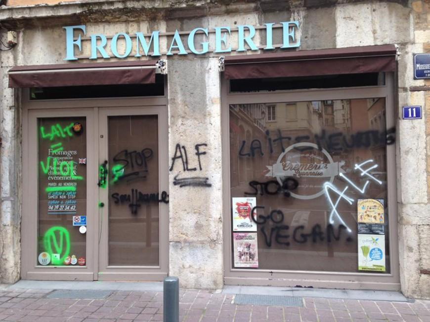 """""""Lait = viol"""" : des enseignes taguées dans le Vieux Lyon par des militants vegan"""