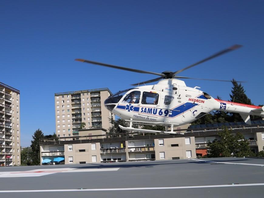Près de Lyon : deux blessés héliportés à l'hôpital après un accident