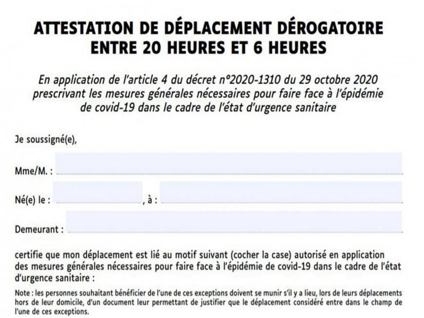 Couvre-feu à Lyon : la nouvelle attestation est disponible