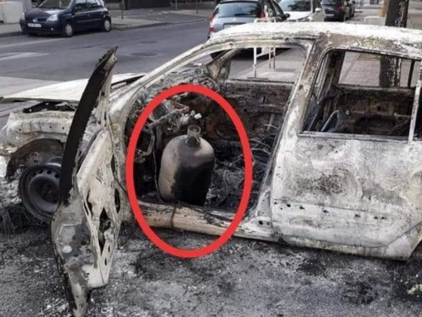 Près de Lyon : une bouteille de gaz dans une voiture en feu le 14 juillet