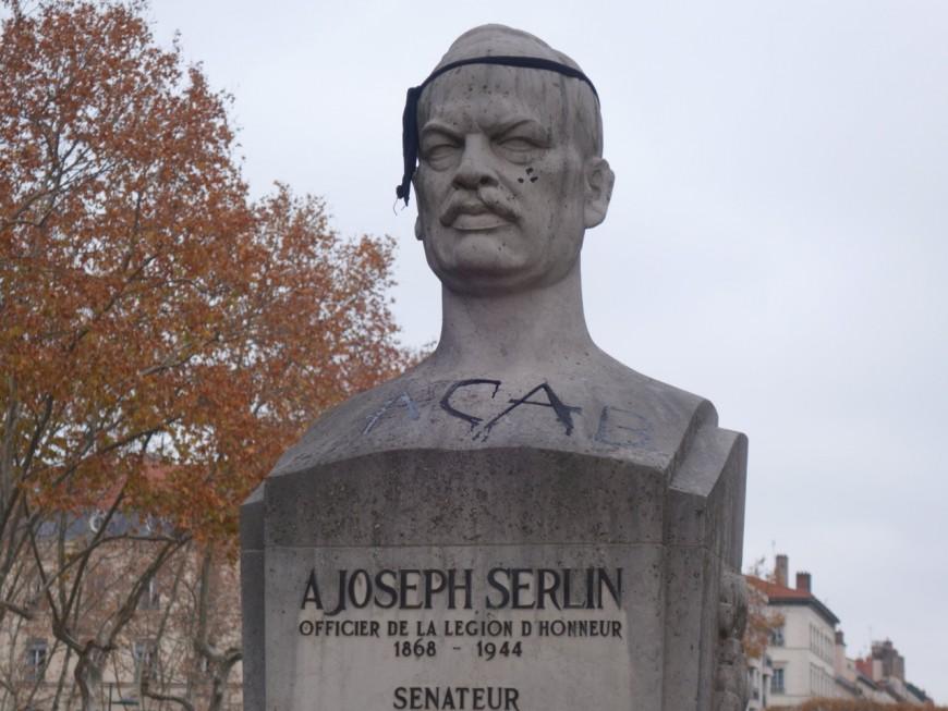 """Lyon: un buste de Joseph Serlin, ancien résistant, tagué lors de la """"Marche des Libertés"""""""
