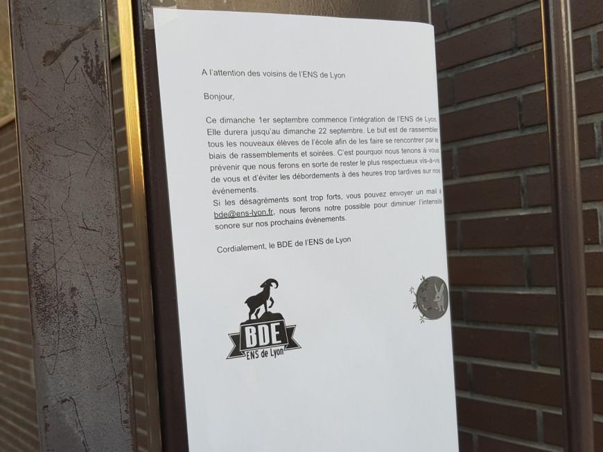 Le BDE de l'ENS Lyon promet à ses voisins de rester sage pendant la période d'intégration