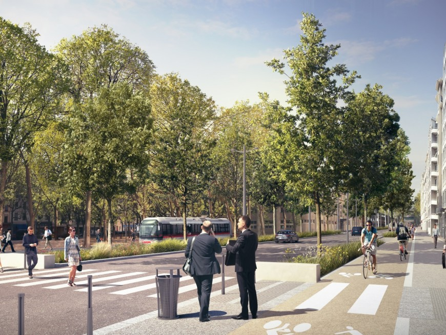 """Lyon : après 5 ans de travaux, la rue Garibaldi aménagée en un """"boulevard urbain lumineux et végétalisé"""""""