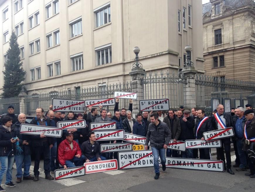 Les paysans manifestent à Lyon contre la redéfinition des zones défavorisées simples