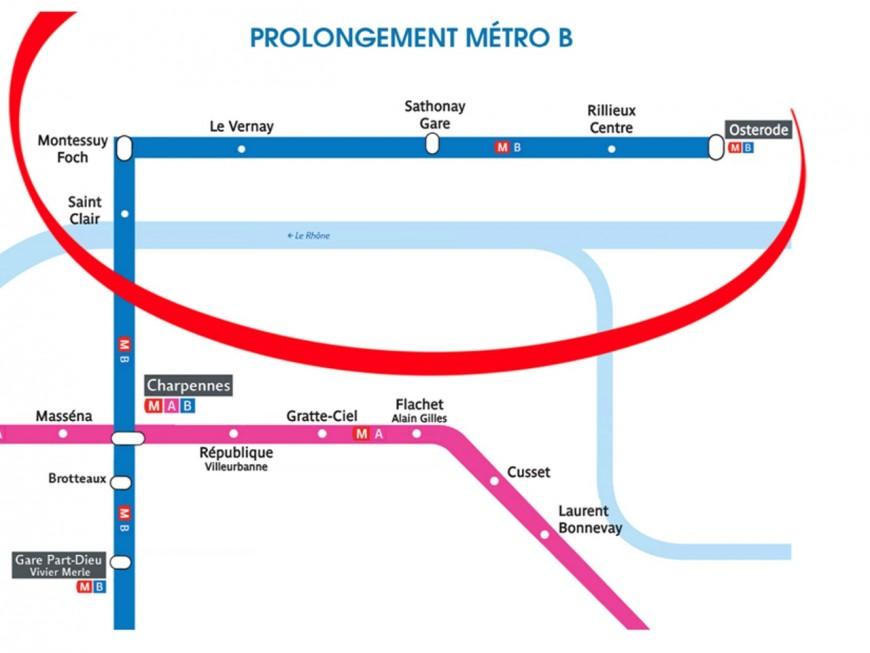 Une pétition pour le prolongement du métro B vers Caluire, Rillieux et Sathonay