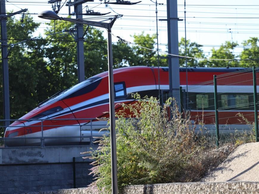 Lyon : un train italien stationné à la Confluence