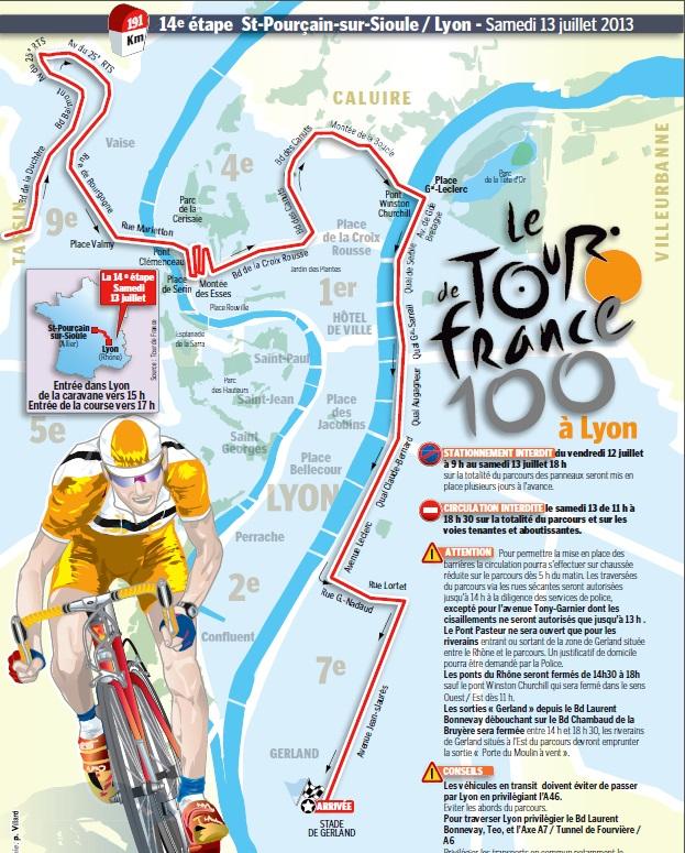 Le parcours détaillé du Tour à Lyon - DR Le Progrès