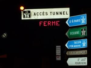Le tunnel de Fourvière fermé lundi soir