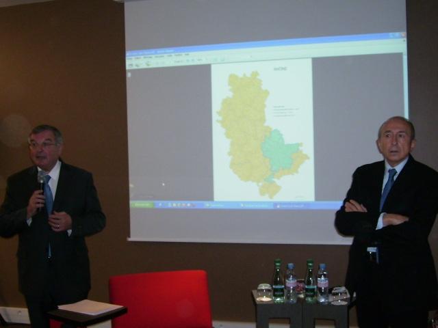 Michel Mercier et Gérard Collomb lors de la présentation mardi matin - LyonMag.com