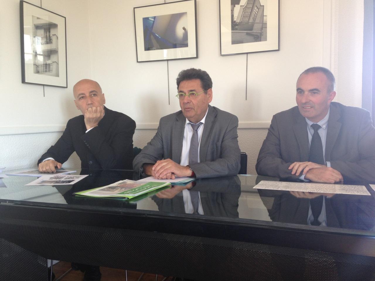 Conférence de presse sur le projet urbain Gratte-Ciel Centre Ville, Nicolas Michelin, Jean-Paul Bret et Michel Le Faou (de gauche à droite) - LyonMag